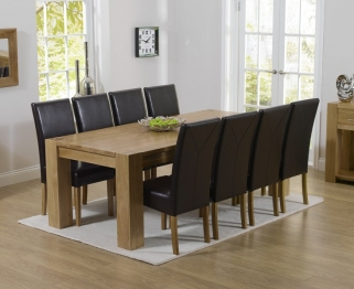 Mark Harris Tampa Solid Oak 220cm Dining Table with 8 Rustique Brown Chairs