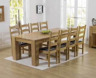 Mark Harris Tampa Solid Oak 220cm Dining Table with 8 Valencia Brown Chairs