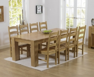 Mark Harris Tampa Solid Oak 220cm Dining Table with 8 Valencia Timber Seat Chairs