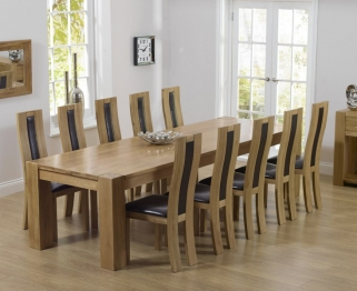 Mark Harris Tampa Solid Oak 300cm Dining Table with 10 Havana Brown Chairs