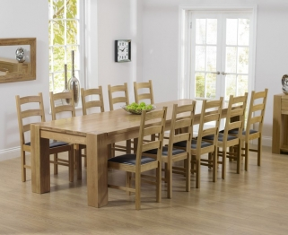 Mark Harris Tampa Solid Oak 300cm Dining Table with 10 Valencia Brown Chairs