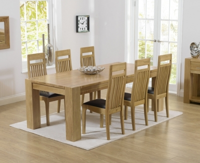 Mark Harris Tampa Oak Large Dining Table and 4 Monte Carlo Black Chairs