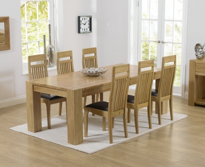 Mark Harris Tampa Oak Large Dining Table and 6 Monte Carlo Brown Chairs
