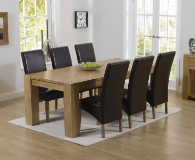 Mark Harris Tampa Oak Large Dining Table and 6 Roma Brown Chairs