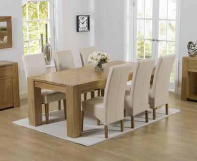 Mark Harris Tampa Oak Large Dining Table and 4 Roma Cream Chairs