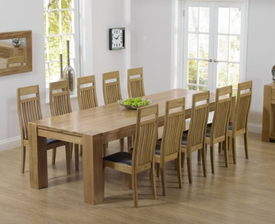 Mark Harris Tampa Oak Extra Large Dining Table and 6 Monte Carlo Black Chairs
