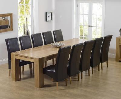 Mark Harris Tampa Oak Extra Large Dining Table and 6 Roma Brown Chairs
