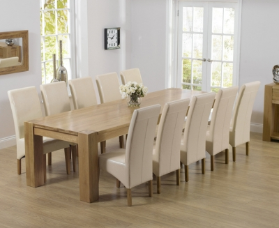 Mark Harris Tampa Oak Extra Large Dining Table and 6 Roma Cream Chairs