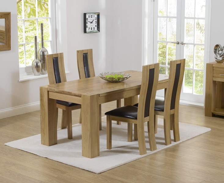 Mark Harris Tampa Solid Oak 150cm Dining Table with 4 Havana Brown Chairs