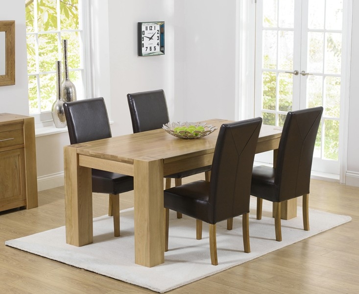 Mark Harris Tampa Solid Oak 150cm Dining Table with 4 Rustique Brown Chairs