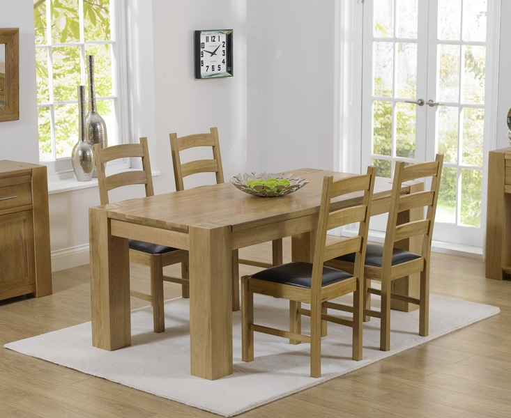 Mark Harris Tampa Solid Oak 150cm Dining Set with 4 Valencia Brown Dining Chairs
