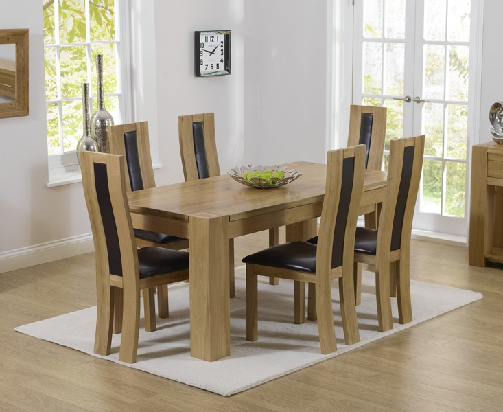 Mark Harris Tampa Solid Oak 150cm Dining Table with 6 Havana Brown Chairs