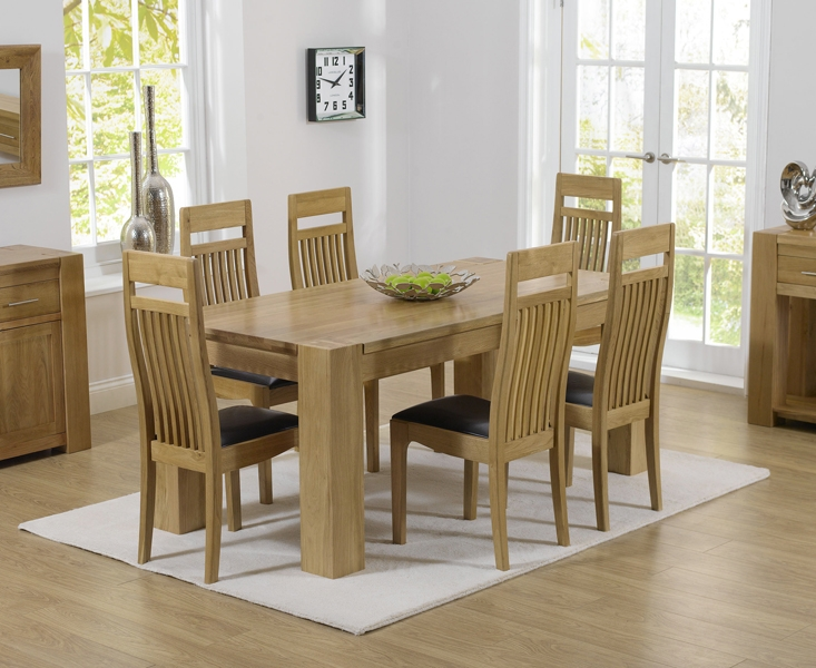 Mark Harris Tampa Solid Oak 150cm Dining Set with 6 Monte Carlo Black Dining Chairs