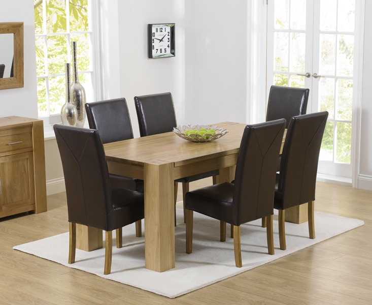 Mark Harris Tampa Solid Oak 150cm Dining Table with 6 Rustique Brown Chairs