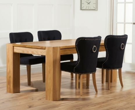 Mark Harris Tampa Solid Oak 180cm Dining Table with 4 Kalim Black Chairs