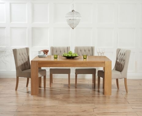 Mark Harris Tampa Solid Oak 180cm Dining Table with 4 Stefini Beige Chairs