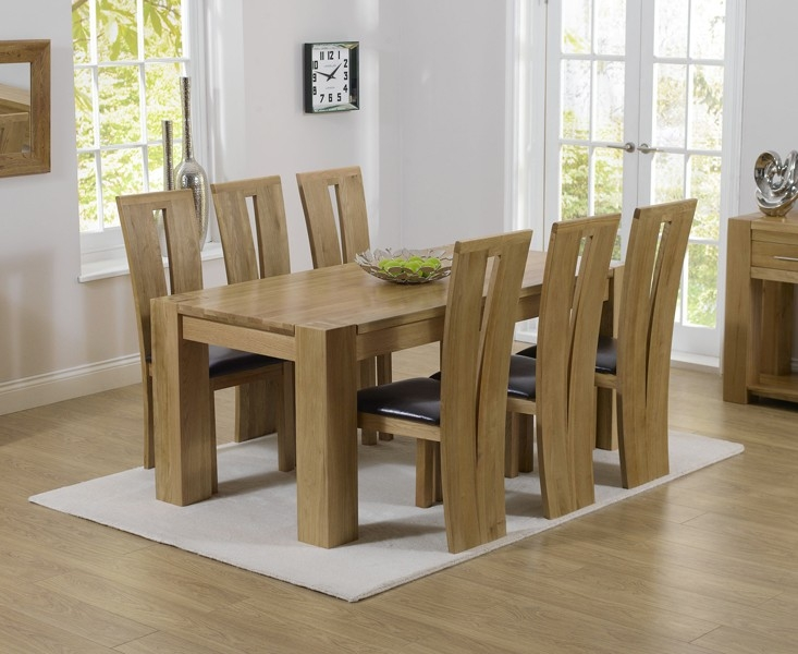 Mark Harris Tampa Solid Oak 180cm Dining Table with 6 Arizona Brown Chairs