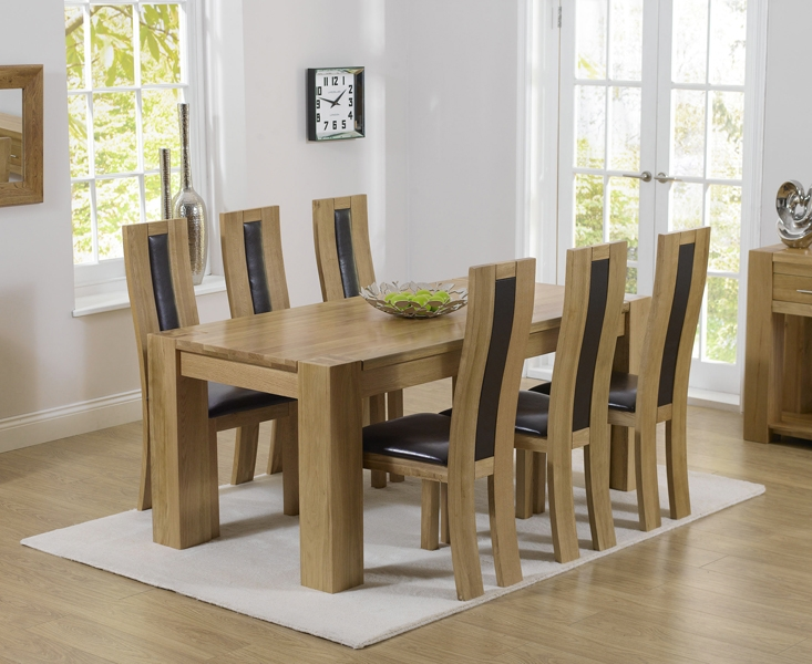 Mark Harris Tampa Solid Oak 180cm Dining Table with 6 Havana Brown Chairs