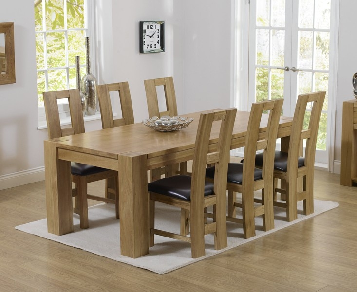Mark Harris Tampa Solid Oak 180cm Dining Set with 6 John Louis Brown Dining Chairs