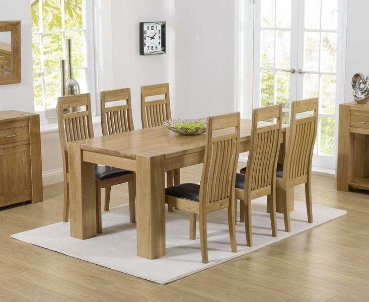 Mark Harris Tampa Solid Oak 180cm Dining Table with 6 Monte Carlo Black Chairs
