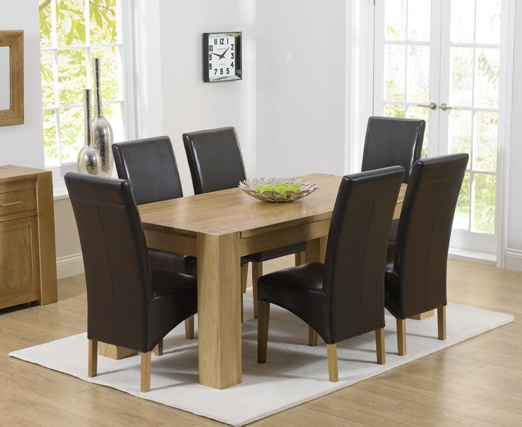 Mark Harris Tampa Solid Oak 180cm Dining Table with 6 Roma Brown Chairs