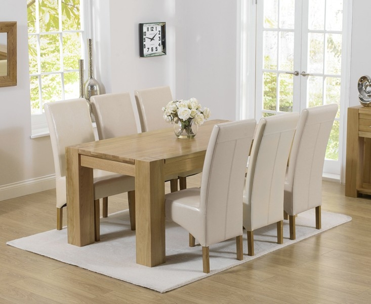 Mark Harris Tampa Solid Oak 180cm Dining Set with 6 Roma Cream Dining Chairs