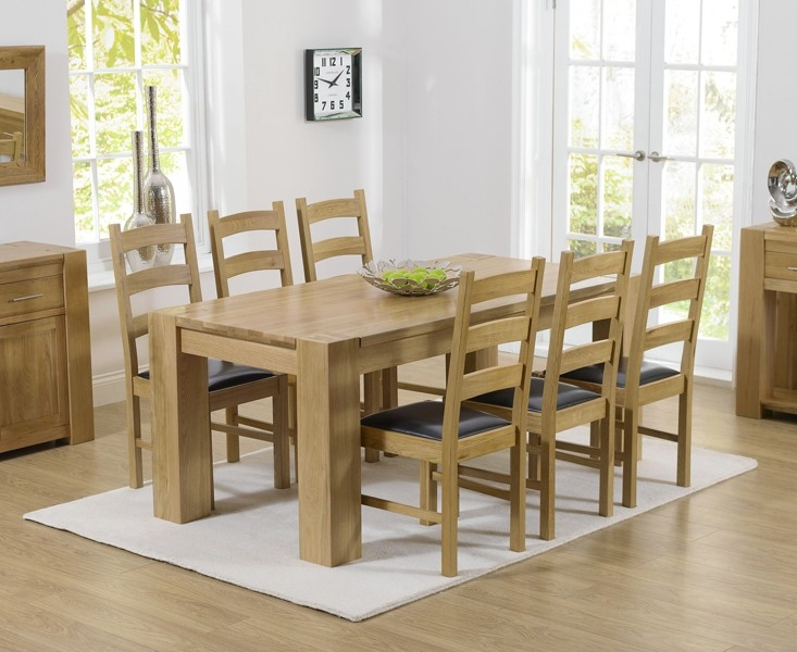 Mark Harris Tampa Solid Oak 180cm Dining Table with 6 Valencia Brown Chairs