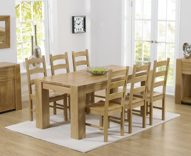 Mark Harris Tampa Solid Oak 180cm Dining Table with 6 Valencia Timber Seat Chairs