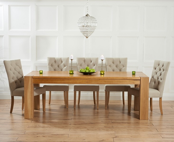 Mark Harris Tampa Solid Oak 220cm Dining Set with 6 Albury Beige Dining Chairs