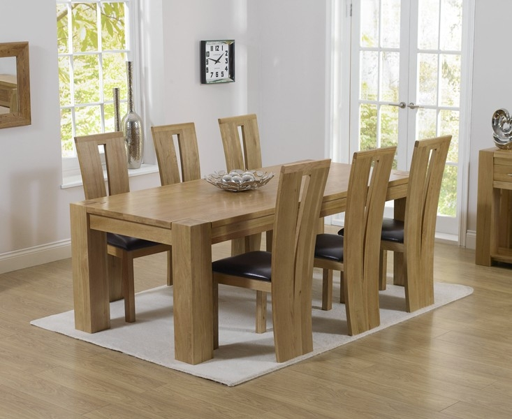 Mark Harris Tampa Solid Oak 220cm Dining Set with 6 Arizona Brown Dining Chairs