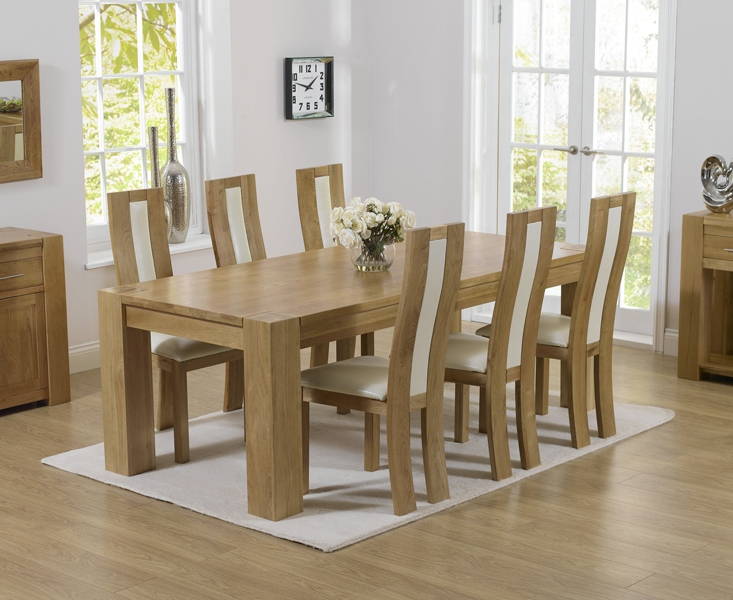 Mark Harris Tampa Solid Oak 220cm Dining Table with 6 Havana Cream Chairs