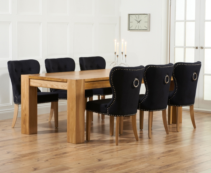 Mark Harris Tampa Solid Oak 220cm Dining Table with 6 Kalim Black Chairs
