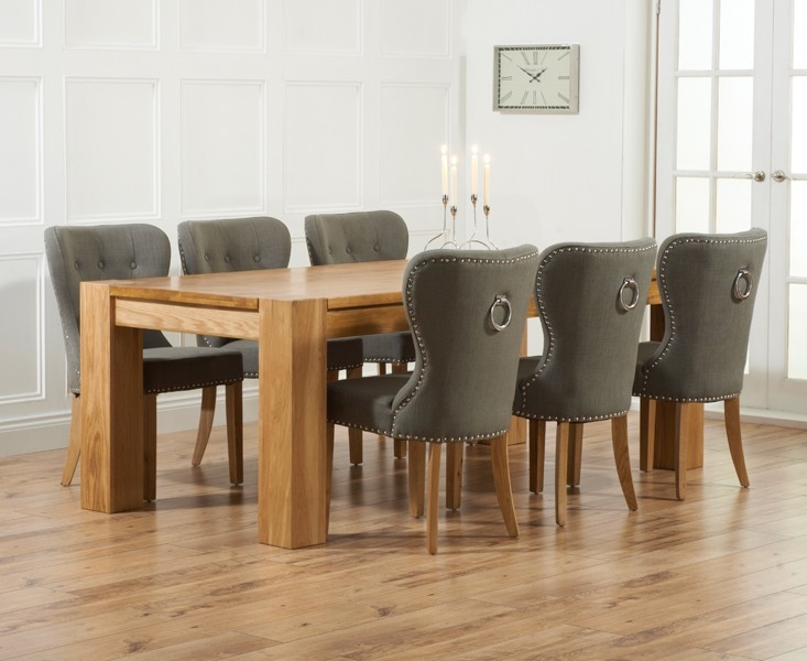 Mark Harris Tampa Solid Oak 220cm Dining Table with 6 Kalim Grey Chairs