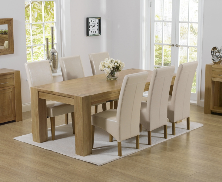 Mark Harris Tampa Solid Oak 220cm Dining Set with 6 Roma Cream Dining Chairs