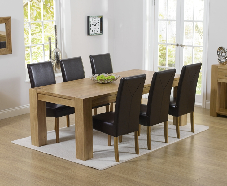 Mark Harris Tampa Solid Oak 220cm Dining Table with 6 Rustique Brown Chairs