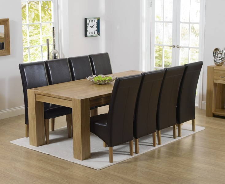 Mark Harris Tampa Solid Oak 220cm Dining Table with 8 Roma Brown Chairs