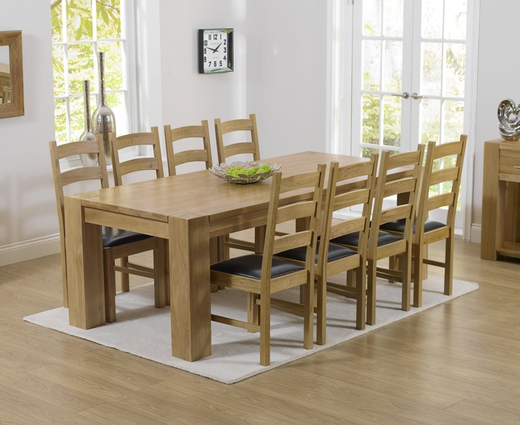 Mark Harris Tampa Solid Oak 220cm Dining Set with 8 Valencia Brown Dining Chairs