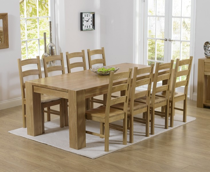 Mark Harris Tampa Solid Oak 220cm Dining Set with 8 Valencia Timber Dining Chairs
