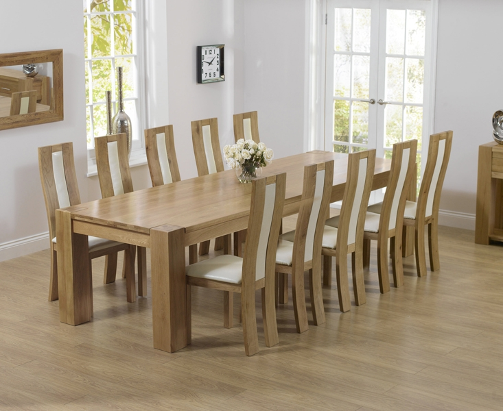 Mark Harris Tampa Solid Oak 300cm Dining Table with 10 Havana Cream Chairs