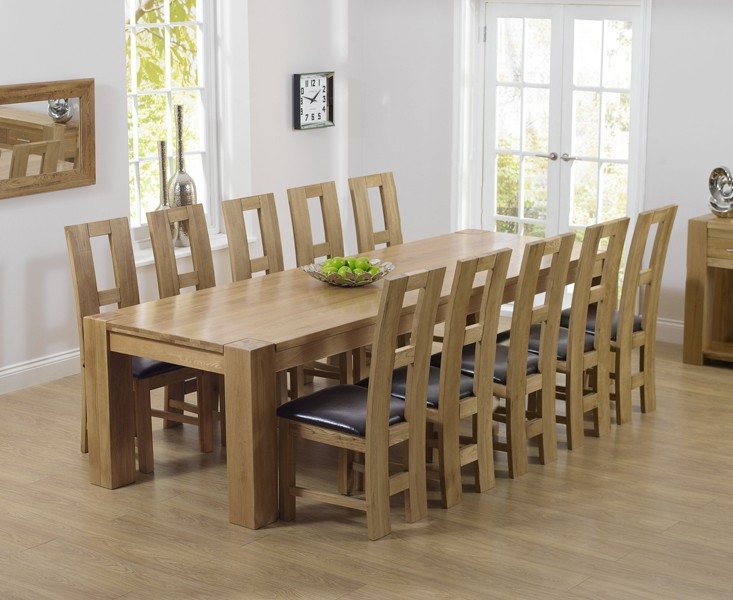 Mark Harris Tampa Solid Oak 300cm Dining Set with 10 John Louis Brown Dining Chairs
