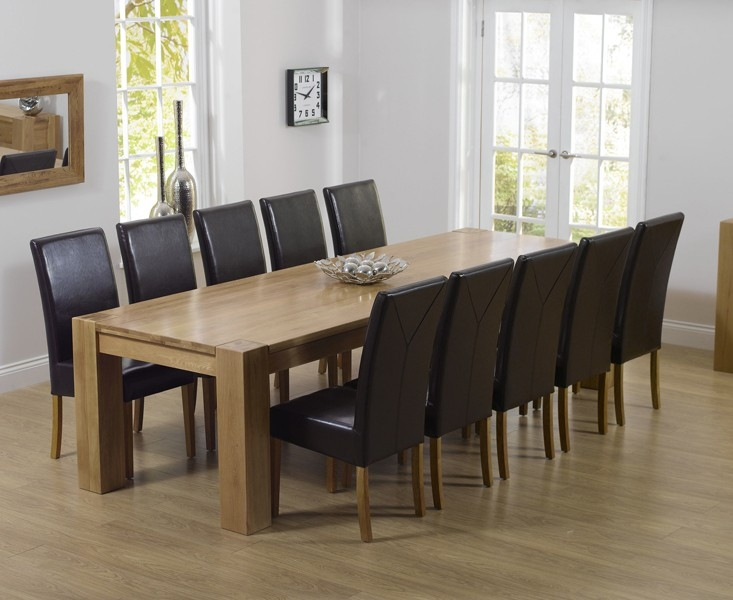 Mark Harris Tampa Solid Oak 300cm Dining Set with 10 Rustique Brown Dining Chairs