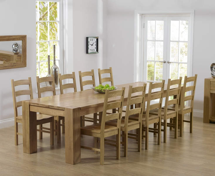 Mark Harris Tampa Solid Oak 300cm Dining Set with 10 Valencia Timber Dining Chairs