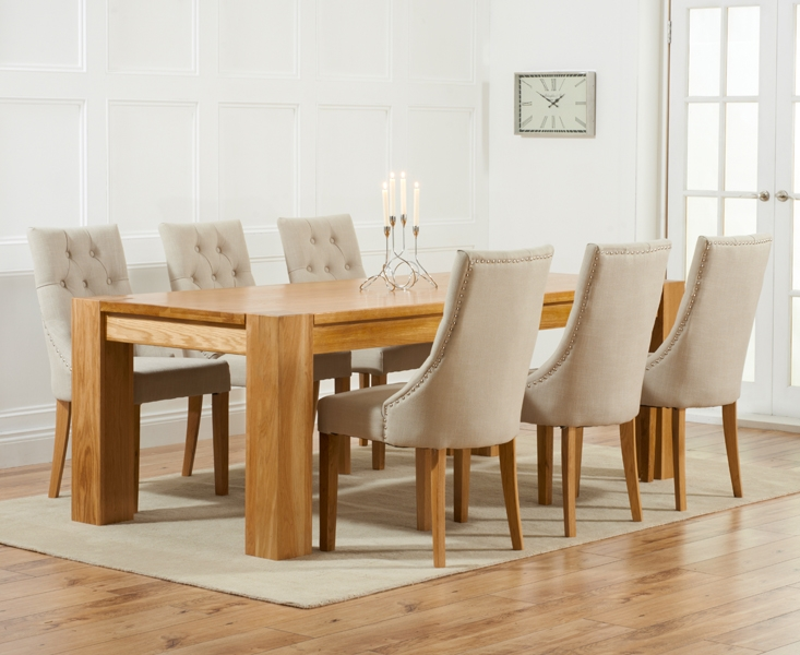 Mark Harris Tampa Solid Oak Dining Set - 220cm with 6 Pailin Beige Chairs