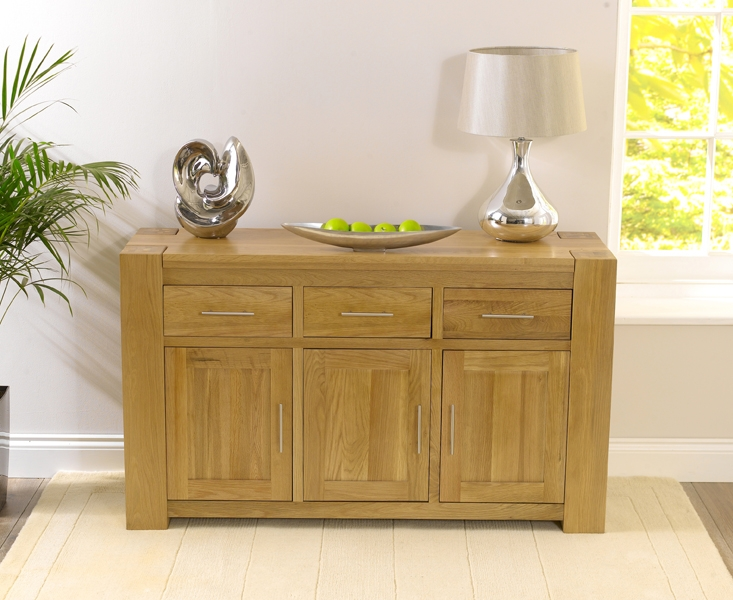 Mark Harris Tampa Solid Oak Sideboard - Large Wide 3 Doors 3 Drawers