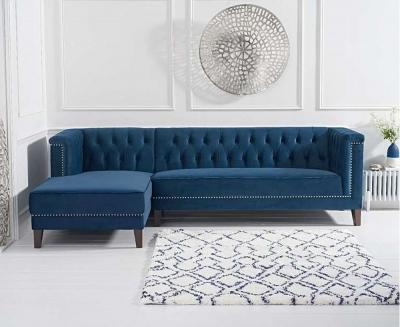 Mark Harris Tino Blue Velvet Left Facing Chaise Sofa