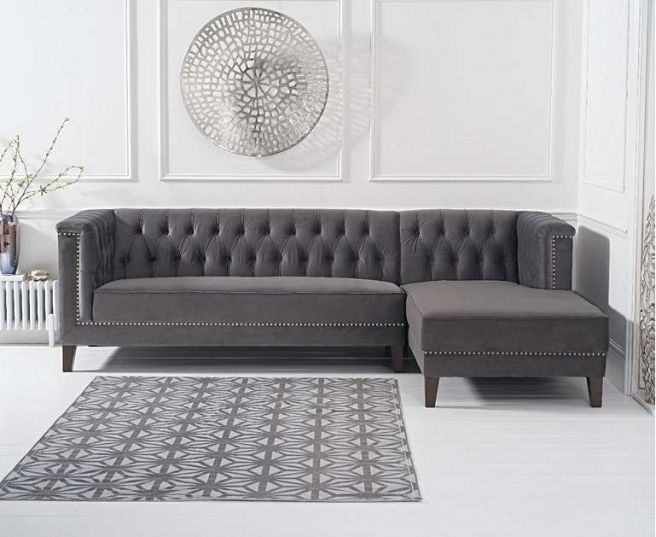 Mark Harris Tino Grey Velvet Right Facing Chaise Sofa