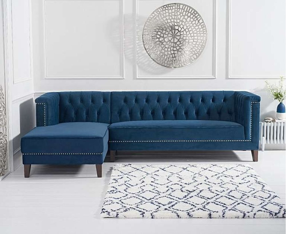 Mark Harris Tino Blue Velvet Left Facing Chaise Sofa