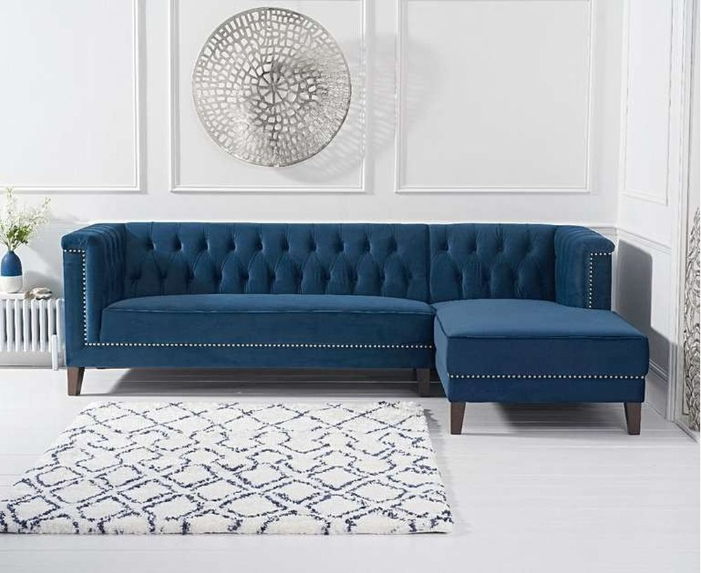Mark Harris Tino Blue Velvet Right Facing Chaise Sofa