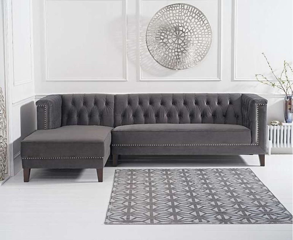 Mark Harris Tino Dark Grey Velvet Left Facing Chaise Sofa