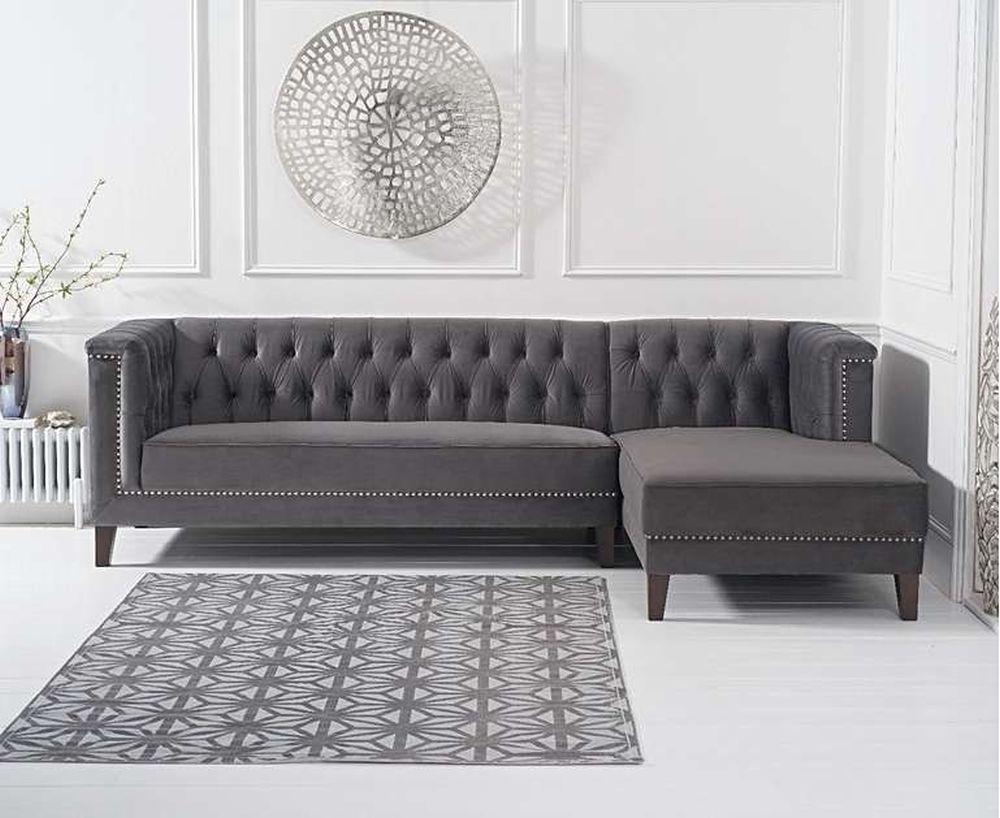 Mark Harris Tino Dark Grey Velvet Right Facing Chaise Sofa